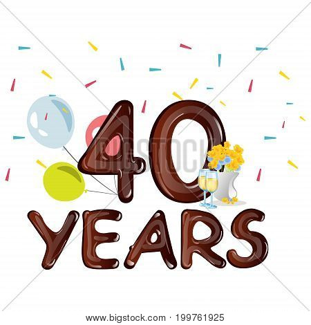 40th Anniversary Celebration Design, with flowers. Vector illustration