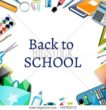 Back to school poster design with icons. Vector illustration