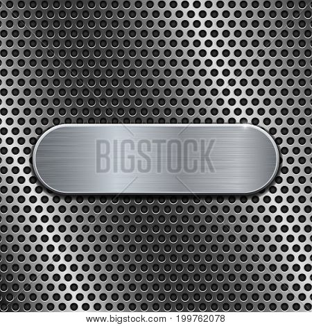 Metal oval plate on perforated background. Vector 3d illustration