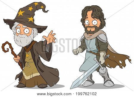 Cartoon medieval wizard and brave knight with sword characters vector set poster
