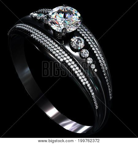 Black gold engagement ring with diamond gem. Luxury jewellery bijouterie with rhodium or ruthenium coating with gemstone. 3D rendering. Glare on metal part of jewel. Family values.