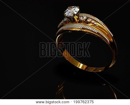 Gold ring with diamond gem jewelry. Luxury jewellery bijouterie with crystal gemstone for people in love. Frontal view and reflection on black background. 3D rendering . Ancient bracelet.