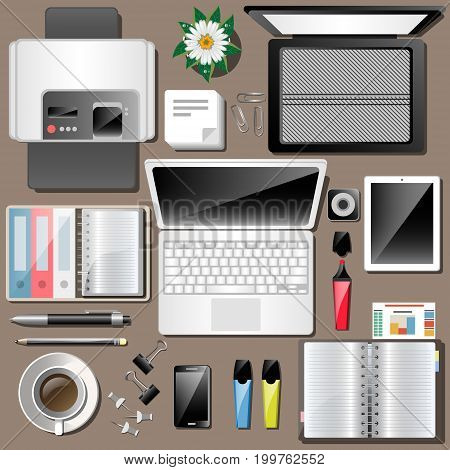 Business workplace Top view work Accessories. Vector illustration