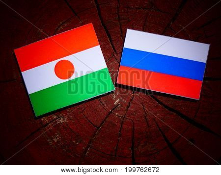 Niger Flag With Russian Flag On A Tree Stump Isolated