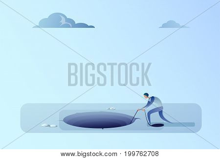Business Man Throwing Rope In Hole Freedom Finance Crisis Concept Flat Vector Illustration