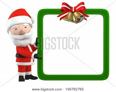 Santa Claus' suggestion  blank white board,  3D illustration