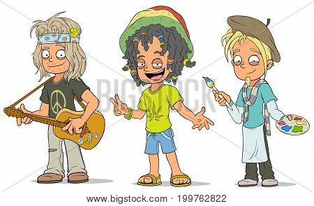 Cartoon hippie with guitar jamaican and artist with paints characters vector set