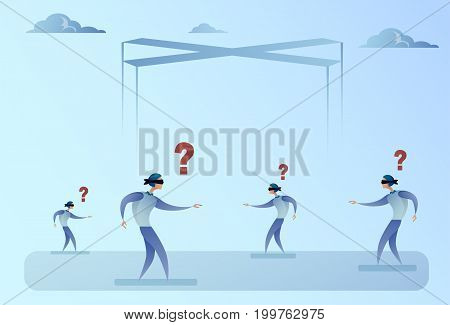 Business Man Group Blind Forded Walking With Question Mark Problem Concept Vector Illustration
