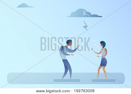 Business People Angry Shouting Conflict Concept Flat Vector Illustration