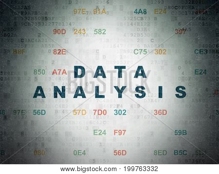 Data concept: Painted blue text Data Analysis on Digital Data Paper background with Hexadecimal Code