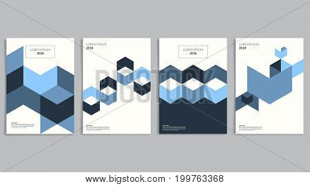 Backgrounds with blue hexagons. Minimalistic covers set with abstract blue geometric shapes composition. Use for your poster, magazine, flyer and advertising design. Vector eps 10.