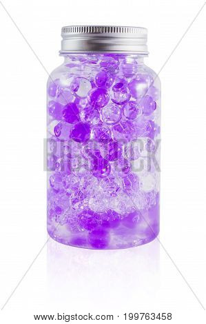 polymer scent aroma gel ball in the bottle isolated on white