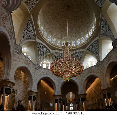 Interior view to Sheikh Zayed Mosque - 02-05-2015 Abu-Dhabi UAE