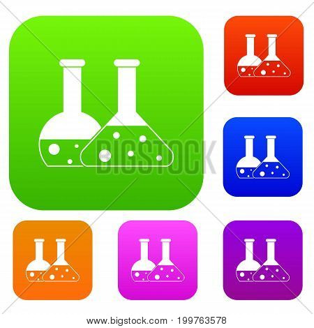 Transparent flasks set icon in different colors isolated vector illustration. Premium collection