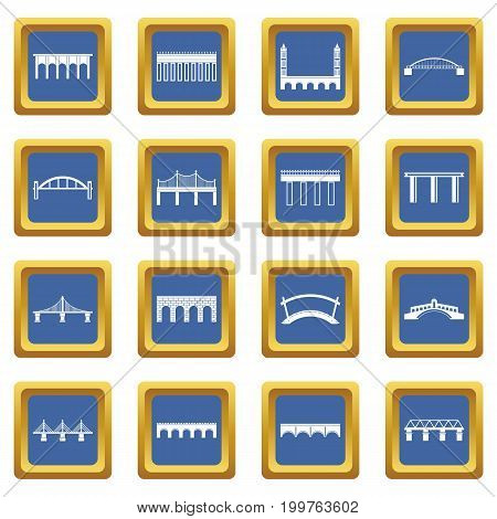 Bridge set icons set in blue color isolated vector illustration for web and any design