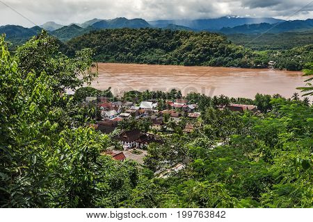 Luang Prabang Aerial View travel destination on the mekong river in Laos