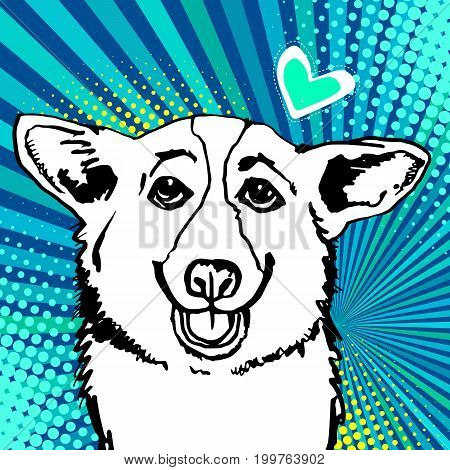 welsh dog corgi animal illustration pet white ears breed pembroke