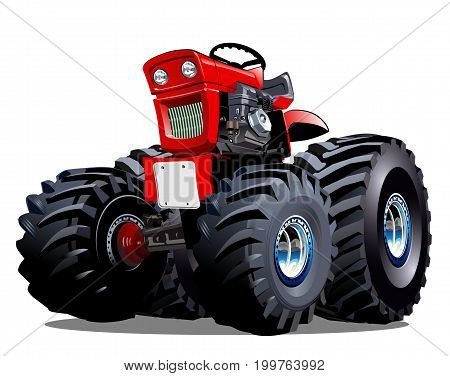 Vector Cartoon Tractor. Available EPS-10 vector format separated by groups for easy edit