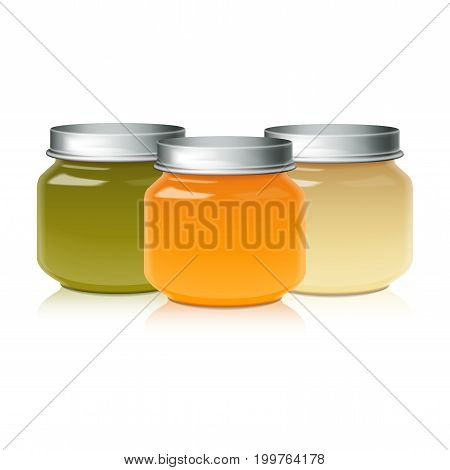 Set Of Glass Jar Mock Up For Baby Food Puree, Honey, Jam, Jelly for your design