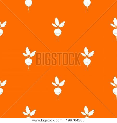 Fresh radish pattern repeat seamless in orange color for any design. Vector geometric illustration