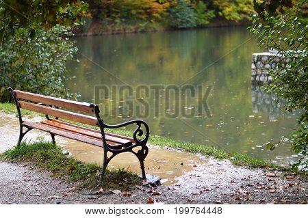 Autumn day with rain in Maksimir park  Zagreb Croatia