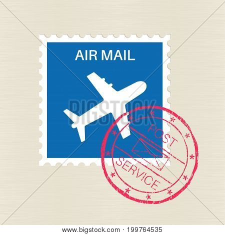 Air mail blue stamp with plane symbol and red stamping on it. Vector illustration