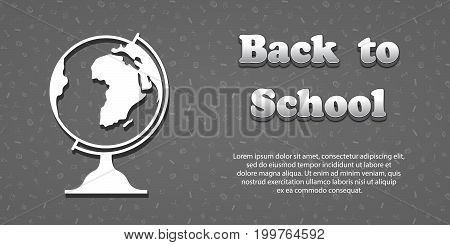 Vector design template for Back to school. Seamless pattern background with school supplies drawing icons. 3d text Back to school. Globe symbol.