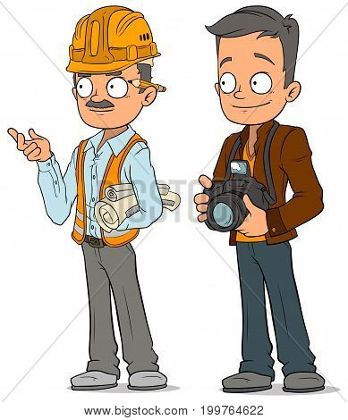 Cartoon engineer in helmet with documents and journalist photographer characters vector set