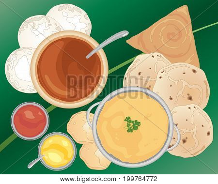 an illustration of an indian meal with curries idly and flat breads on a banana leaf