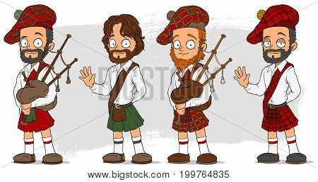 Cartoon bearded scottish man in kilt with bagpipe characters vector set