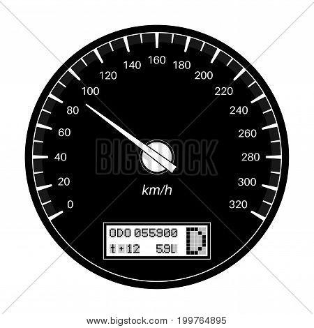 Speedometer. 90 km per hour. Black flat vector illustration on white background