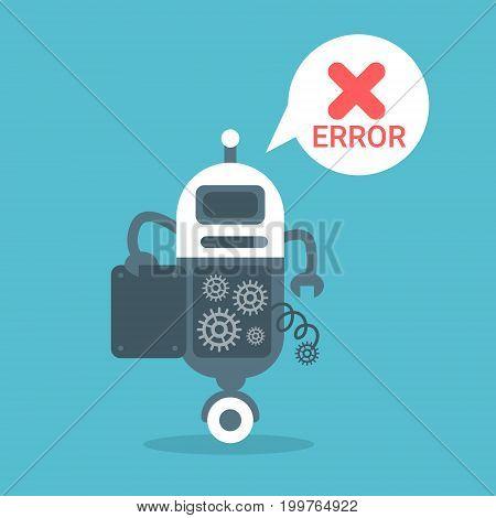 Modern Robot Error Message Artificial Intelligence Technology Concept Flat Vector Illustration