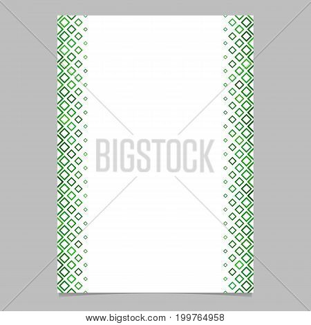 Diagonal square pattern page border template - vector graphic design from squares in green tones with white background for flyers, posters