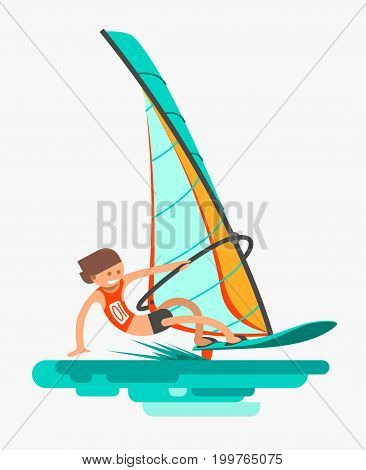 Man rushes on the board with sail. Active lifestyle. Windsurfing, water sport. Flat vector illustration.