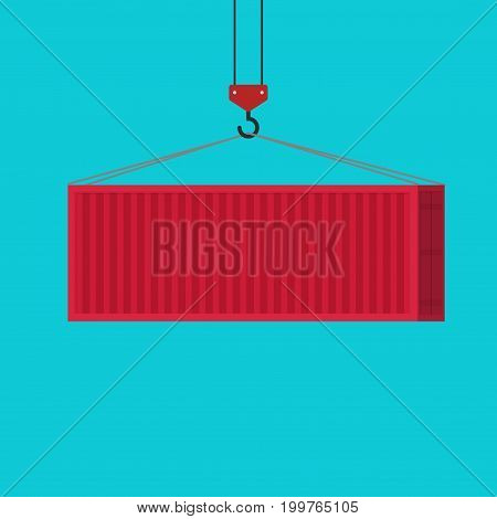 Big shipping container red color loading via crane vector illustration, idea of freight equipment clipart isolated, flat cartoon design