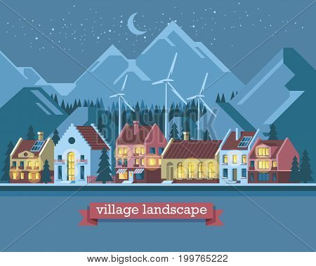Green energy and eco friendly modern city. Traditional architecture landscape. Solar and wind power. Flat vector illustration. 3d style.
