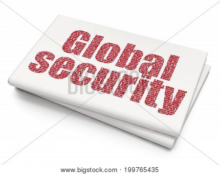 Security concept: Pixelated red text Global Security on Blank Newspaper background, 3D rendering