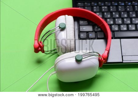 Sound Recording Idea. Electronics Isolated On Light Green Background