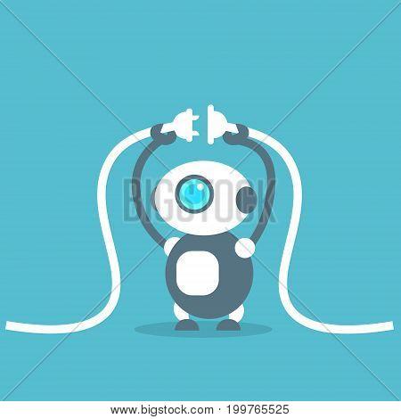Modern Robot Connection Repair Artificial Intelligence Technology Concept Flat Vector Illustration
