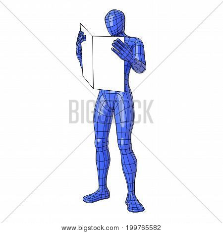 Futuristic wireframe human figure reading something. vector illustration