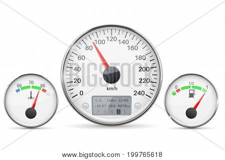 Car dashboard gauges with metal frames. Speedometer, fuel gauge and engine thermometer. Vector 3d illustration isolated on white background