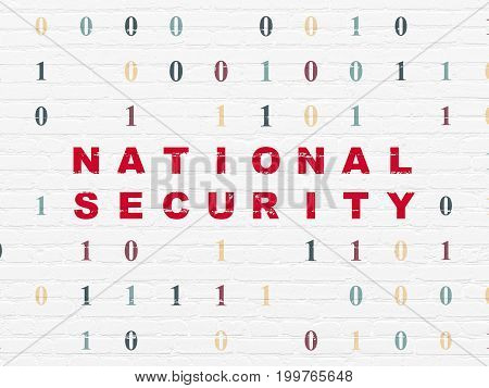 Security concept: Painted red text National Security on White Brick wall background with Binary Code