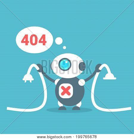 Modern Robot Connection Error Message Artificial Intelligence Technology Concept Flat Vector Illustration