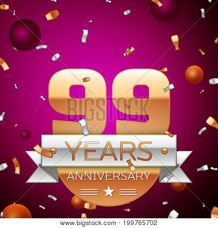 Realistic Ninety nine Years Anniversary Celebration Design. Golden numbers and silver ribbon, confetti on purple background. Colorful Vector template elements for your birthday party