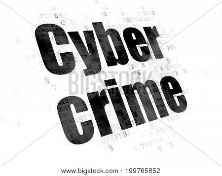 Security concept: Pixelated black text Cyber Crime on Digital background