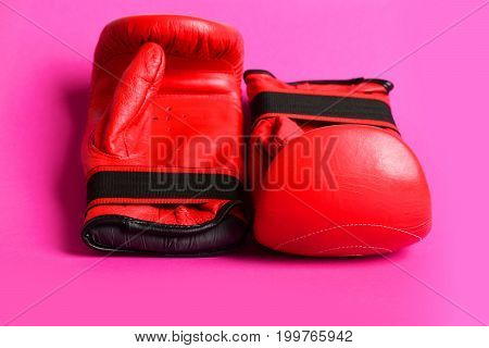 Gloves In Red Colour Designed For Boxing And Martial Arts