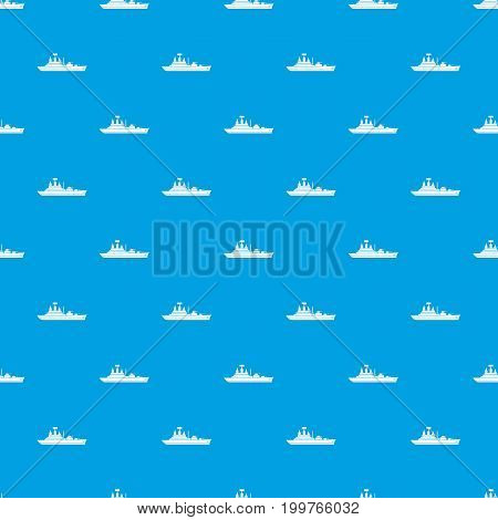 Warship pattern repeat seamless in blue color for any design. Vector geometric illustration