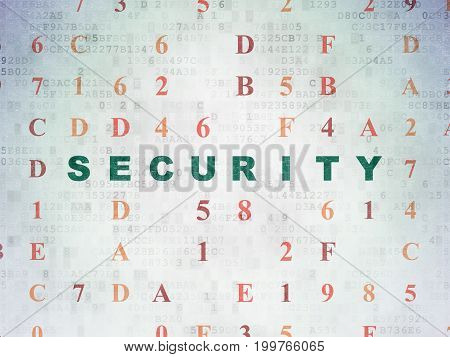 Safety concept: Painted green text Security on Digital Data Paper background with Hexadecimal Code