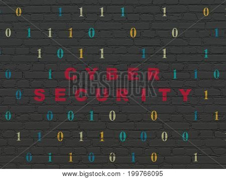 Privacy concept: Painted red text Cyber Security on Black Brick wall background with Binary Code