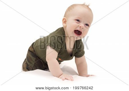 Funny Laughing Baby Boy Crawling On The White Blanket Against Isolated White Background